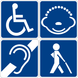 A square image with four smaller squares inside, each a white image against a blue field. The images are line drawings of common symbols. Top left is the handicapped symbol, bottom left is the deaf/hard of hearing symbol, bottom right is the blind/visually impaired symbol, and top right is the mental handicapped symbol.